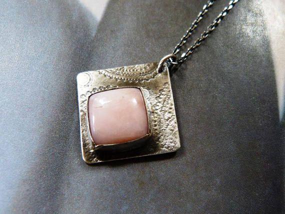 Pink opal necklace handmade pendant metalwork natural