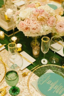 Зеленый и Золотой Декор свадьбы