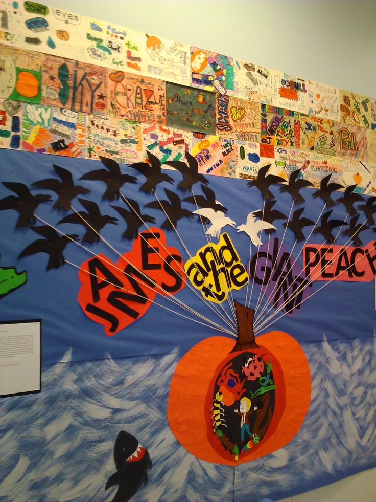 James and the Giant Peach bulletin board- cool idea to have peach cut out so characters can be inside