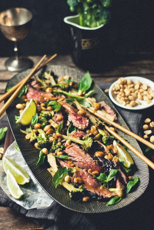 Coconut flank & broccoli salad with peanuts and basil