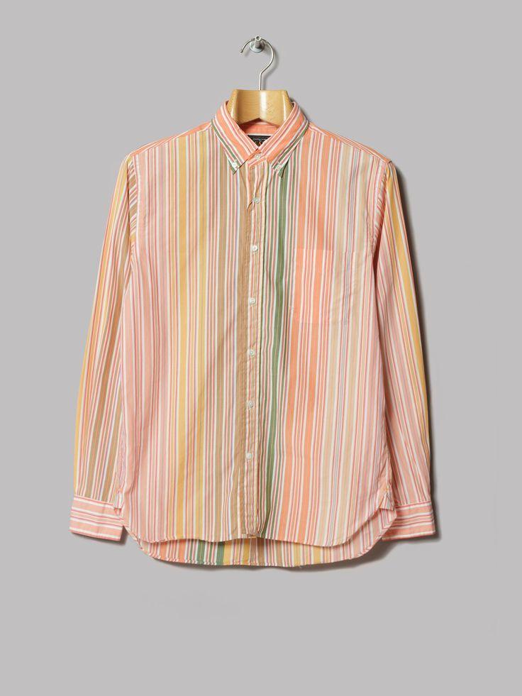 Beams Plus Button Down Wide Stripe Shirt (Pink)