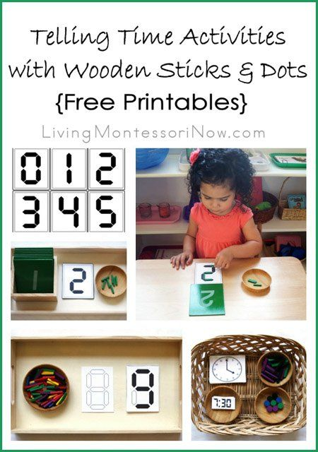 Telling Time Activities with Wooden Sticks and Dots {Free Printables} - Montessori Monday - LivingMontessoriNow.com