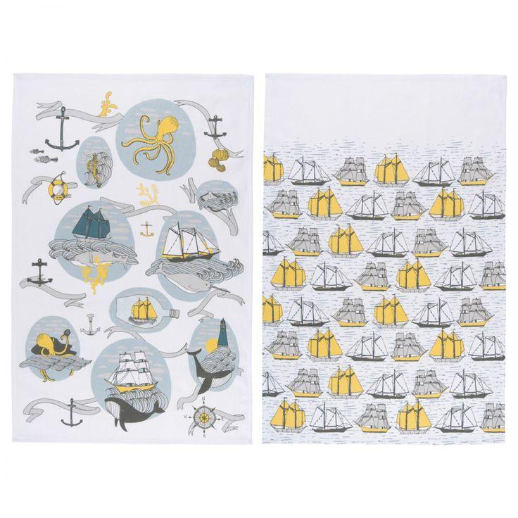 Seven Seas Set Of 2 Tea Towels Magpie. Design with a British Edge.