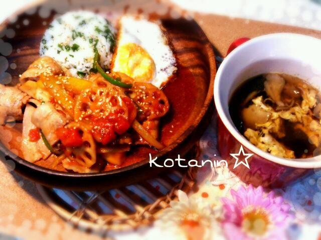 今晩和!コタニンです(*^^*)♪ 今日の夕飯は野菜たっぷり豚肉の 生姜トマト煮と味覇のワカメご飯 にしましたぁ\(^o^)/♪ ご馳走様でしたぁ(*^^*)☆ - 93件のもぐもぐ - 豚肉の生姜トマト煮・味覇とワカメのご飯・舞茸れんこんの卵スープ☆ by kotanin