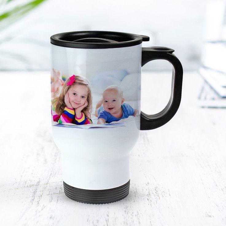 Erinnerungen können ja durchaus auch wärmend sein - mit unserem Weißer Thermobecher bedruckt - Foto Tasse - personalisiert halten sie sogar Kaffee oder Tee warm.