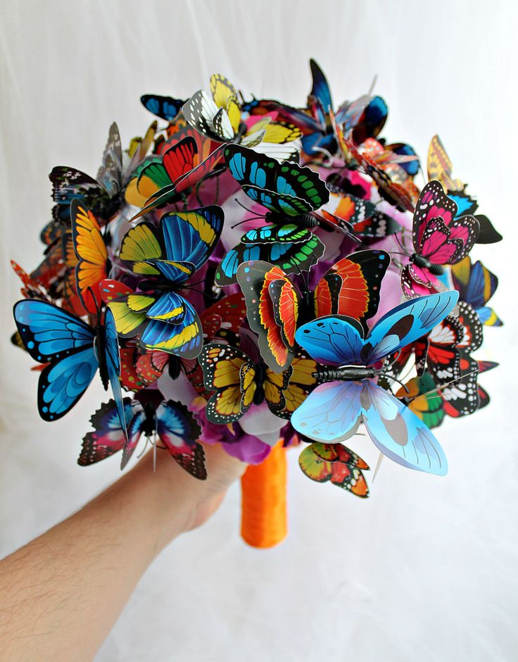 Wedding Butterfly bouquet Engagement ideas Fairy tales  Bridal bouquet multicolor Girlfriend gift Orange Purple Blue Rainbow Bridesmaids (75.66 USD) by JewelryBouquet