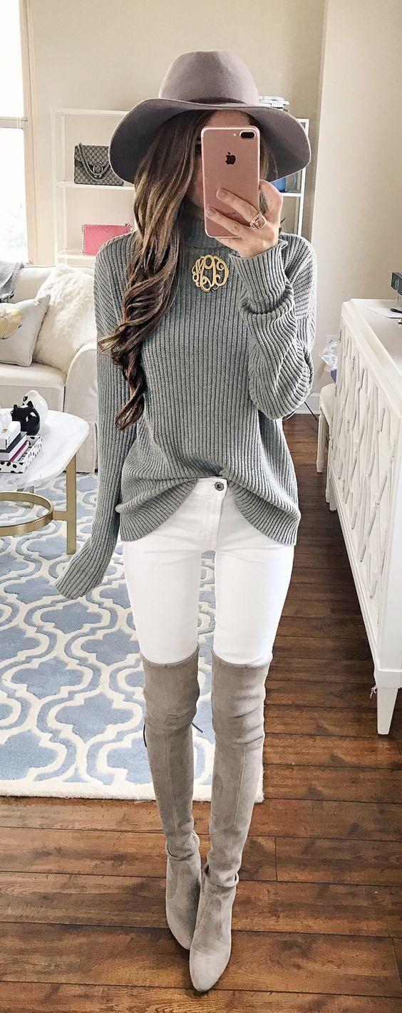 Grey Hat // Turtleneck Oversized Knit // White Skinny Jeans // Grey Velvet Over The Knee Boots