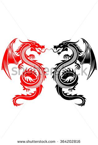 Black and red tribal dragon tattoo vector illustration