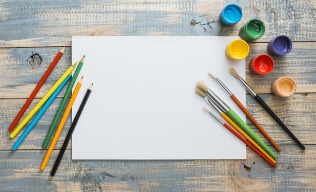 Download Colorful Painting Supplies With White Blank Paper Over