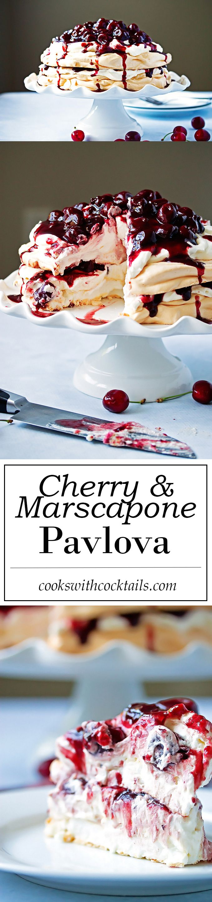 Perfect fluffy meringues layered with billowy whipped cream and marscapone cheese and topped off with fresh cherry and red wine compote. An light and tasty dessert that's super easy and very impressive! #dessert #meringue More