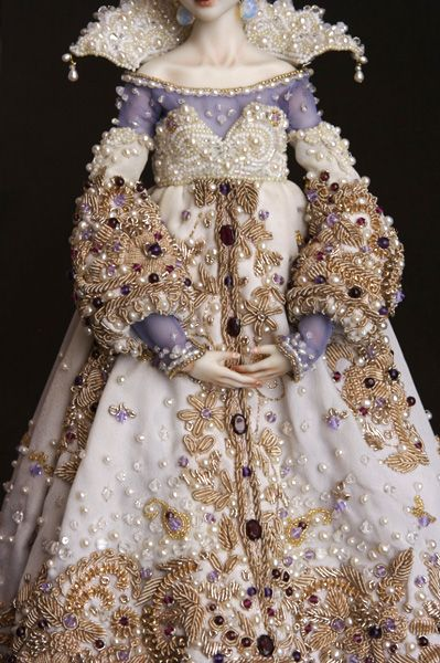 bead embroidery on a OOAK doll
