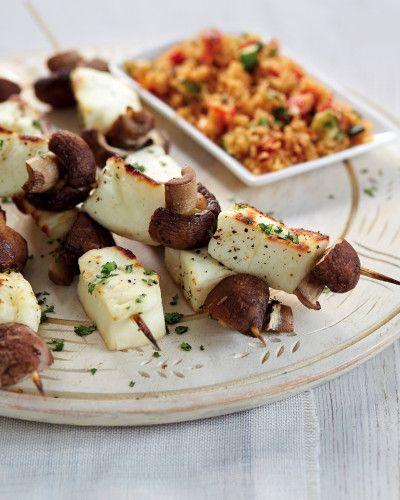 Halloumi and Chestnut Mushroom Kebabs - Aldi recipes
