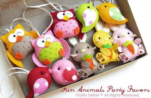 Set of 4 Custom Fun Animals Party Favors Pocket di GiftsDefine