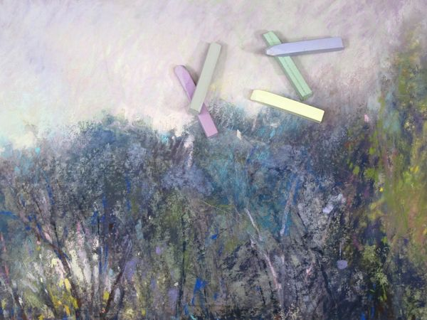 Atmospheric pastel paintings are a mix of hard and soft chalks.