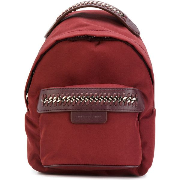 Stella Mccartney Falabella Go Mini Backpack (£520) ❤ liked on Polyvore featuring bags, backpacks, bordeaux, rucksack bags, red mini bag, red bags, mini rucksack and stella mccartney bag
