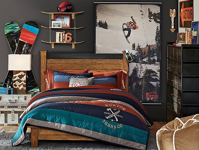 I love the PBteen Emerson Burton Halfpipe Bedroom on pbteen.com ski themed boy's room design/decor
