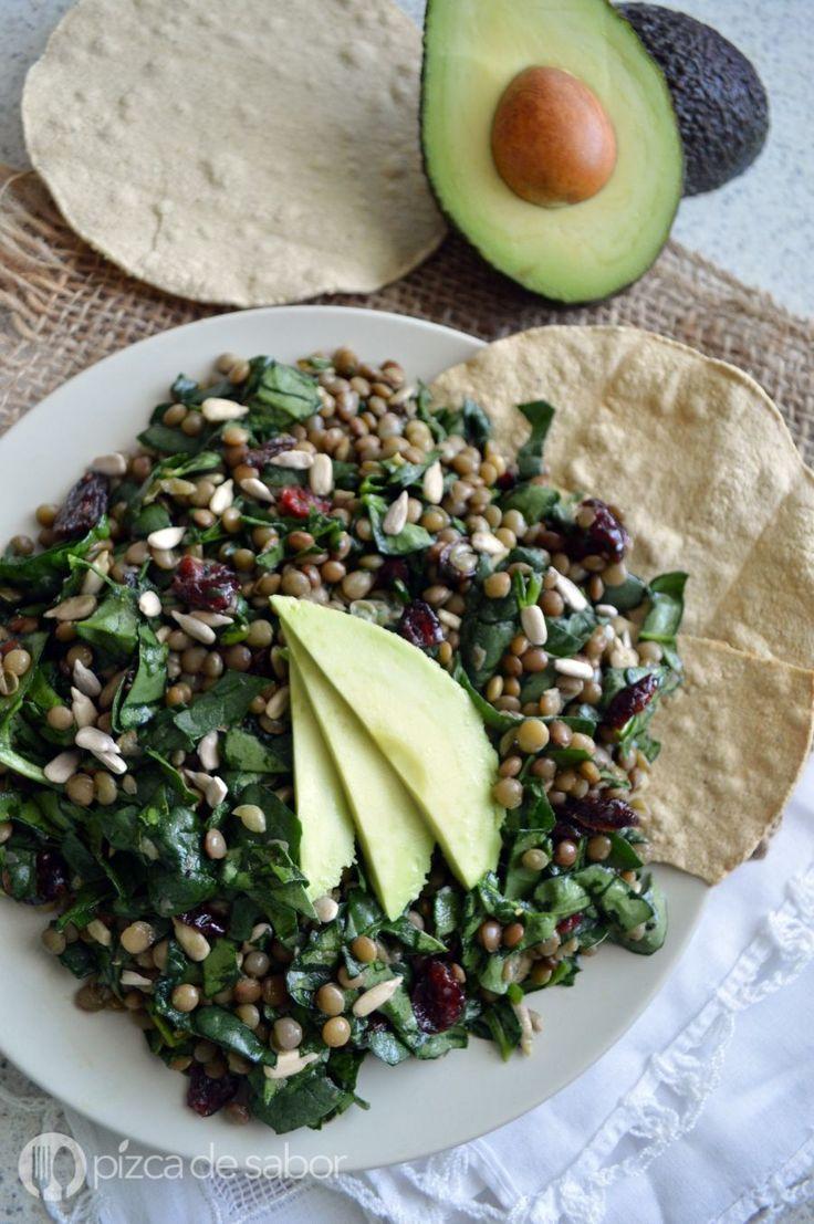 Ensalada de lentejas con espinaca www.pizcadesabor.com