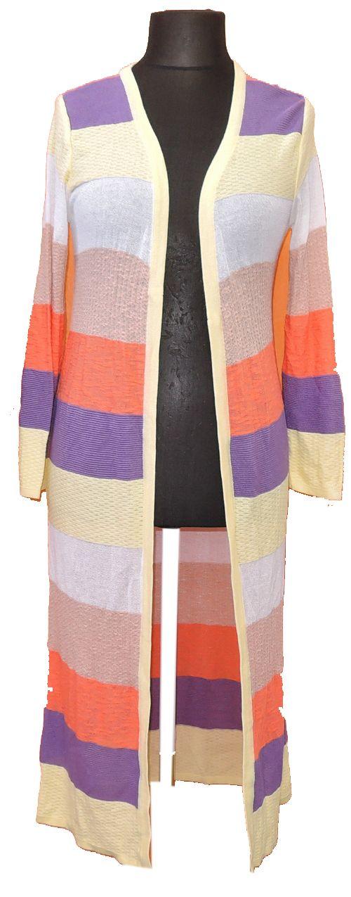 BRUMLA.CZ – Značkový dětský a dospělý second hand a outlet, použité oděvy pro děti a dospělé - Dámský barevně pruhovaný svetrový dlouhý cardigán