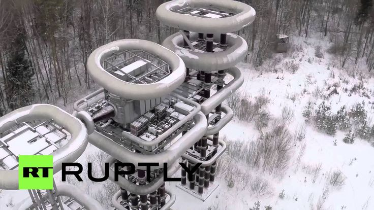 Drone Footage: Tesla Tower in Russian winter