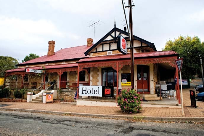 The Watervale Hotel looks like a traditional pub but with local vignerons likely to be lined up at the bar, it's become a favourite with wine lovers.