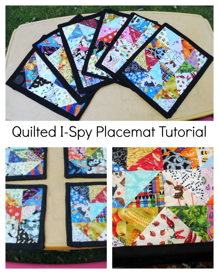 Novelty fabric scrap place mats will keep the kids busy while you finish getting dinner on the table.