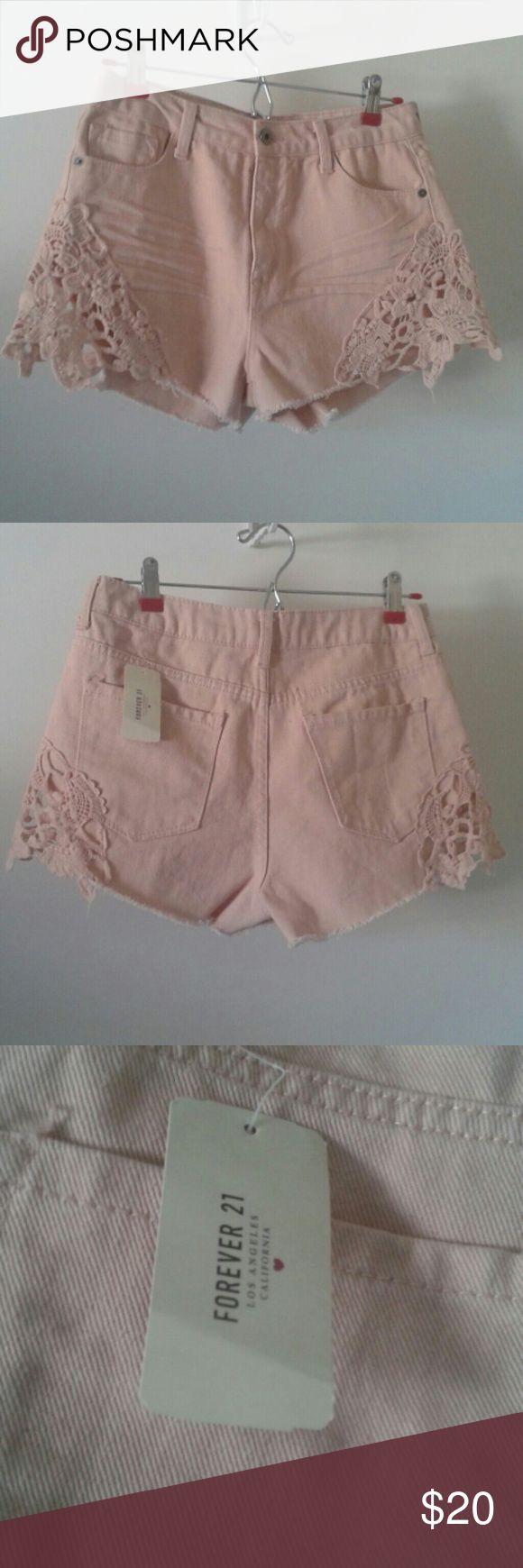 Selling this 💛NWT Forever 21 Highrise Blush Lace Shorts💛 on Poshmark! My username is: lol088. #shopmycloset #poshmark #fashion #shopping #style #forsale #Forever 21 #Pants