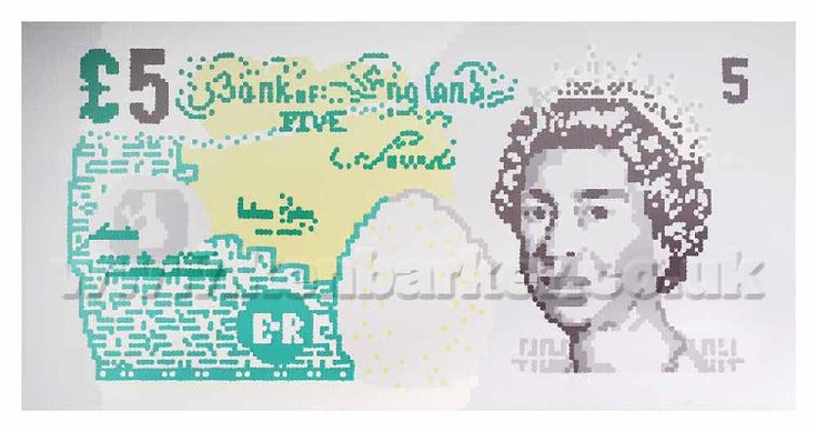 Art portfolio of Ken Barker. Huge £5 note painted with dots, using a chopstick. Over 18,000 dots! Prints on canvas available.