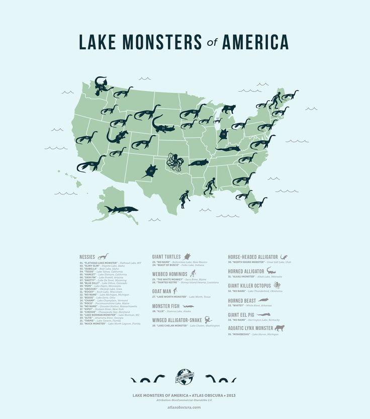 """""""Lake Monsters of American"""" - Map by Michelle Enemark, illustrations by Dylan Thuras. http://www.atlasobscura.com/articles/map-of-american-lake-monsters"""