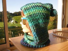 du bout des doigts tricotin géant : tour de cou capuche