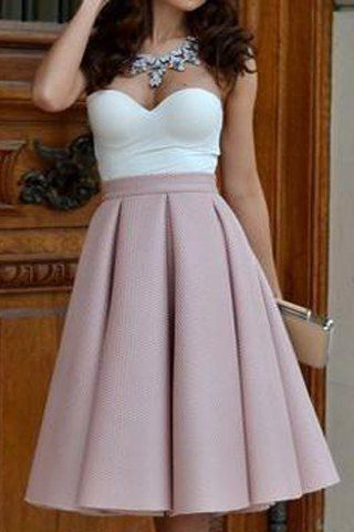 Sexy Color Block Strapless High-Waisted Pleated Dress For Women