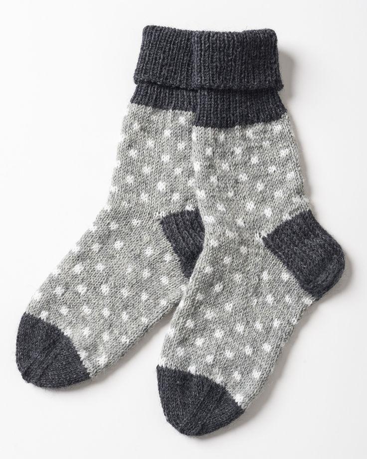 Pilkulliset neulesukat Novita Nalle ja Novita Wool - Novita knits