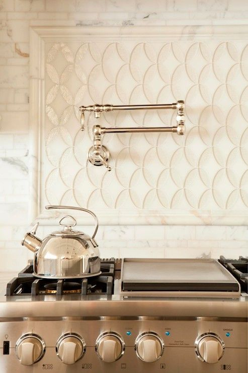 Wendi Young Design - bathrooms - stainless steel oven, stainless steel stove, pot filler faucet, pot filler, swing arm pot filler, marble mo...