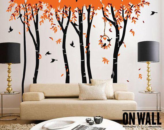Large Nursery Vinyl Wall Tree Decal Set Of Birch By ONWALLstudio