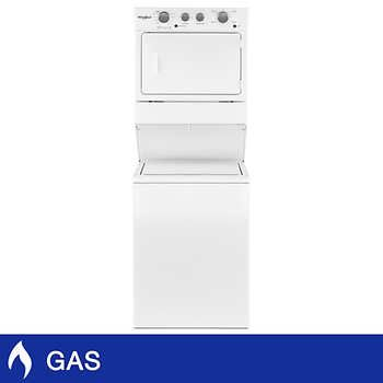 GE Unitized Spacemaker 3.2CuFt Washer and 5.9CuFt GAS Dryer in White