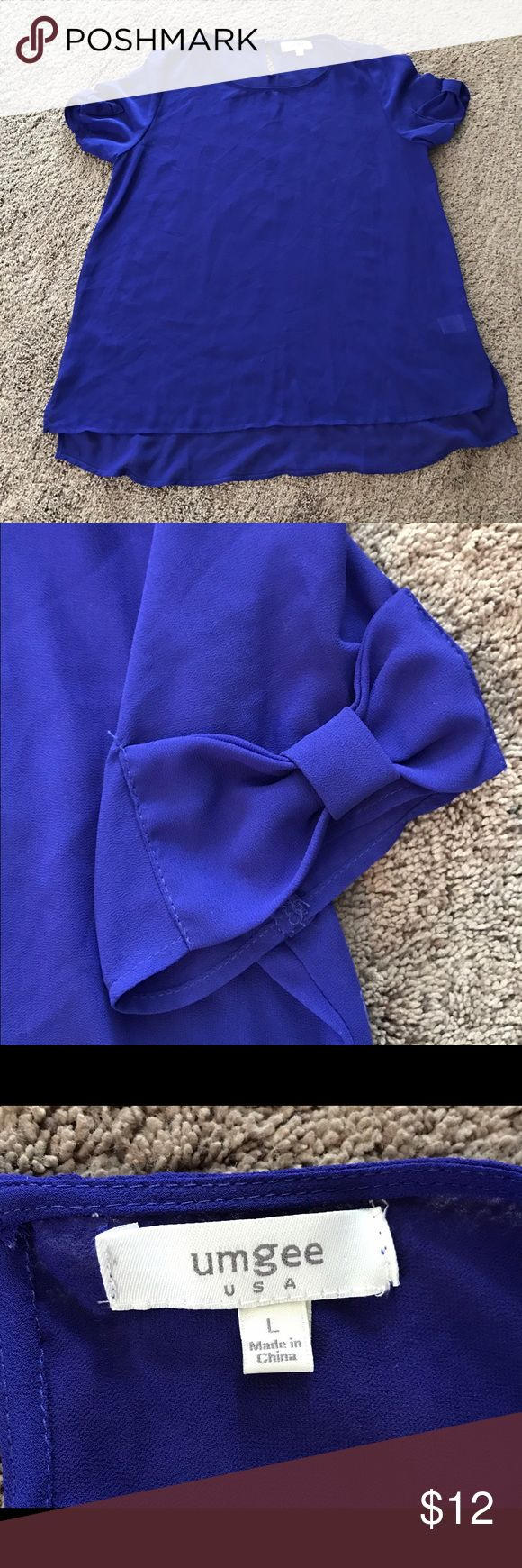 Sheer Blue Top With Bows on Sleeves Sheer blue short-sleeved top with a bow on each sleeve. Cute loose fit. Worn once, in excellent condition. No trades. Comment with questions :) Umgee Tops Blouses
