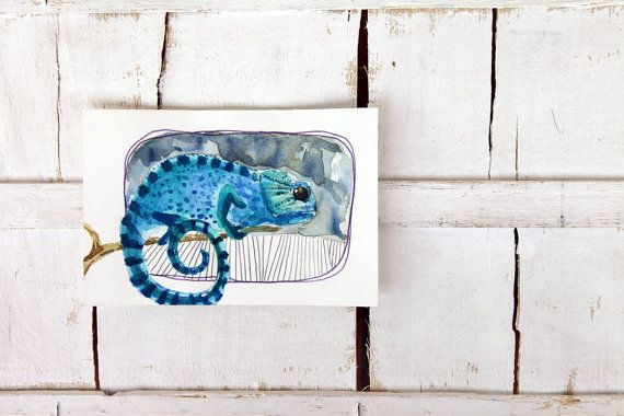 Chameleon illustration Original watercolor by ariannapiazzafineart, $39.00