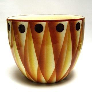 "Airbrushed Geometric Ceramic Planter Czechoslovakia c. 1930 H 5"" D 6"" Very good…"