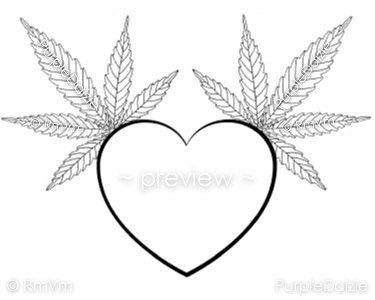 Printable Adult Color Page Heart Cannabis Leaf Marijuana Mary Jane Medical Herb