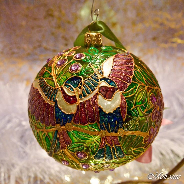 """hand painted christmas glass ornament """"Entchanted Garden ..."""