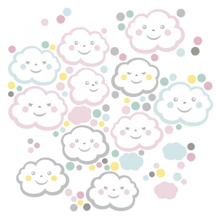 Wandsticker Wolkenkinder rosa/bunt 93-teilig