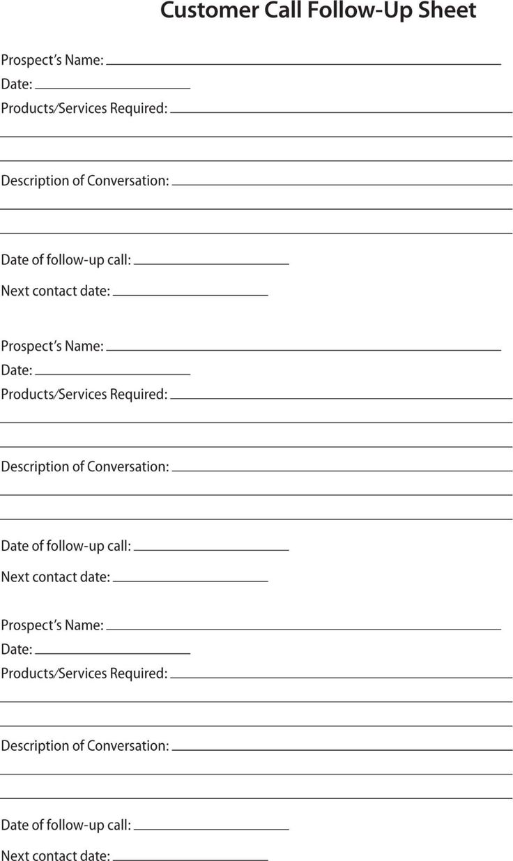 Prospect Sheet Customer Call Follow Up Call Sheet Catering Intended For Customer Contact Report T Meeting Agenda Template Sales Report Template Report Template Sales call sheet template free