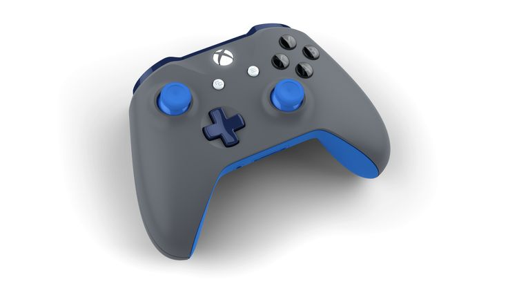 Custom controller with colors: Photon Blue, Midnight Blue, Storm Grey