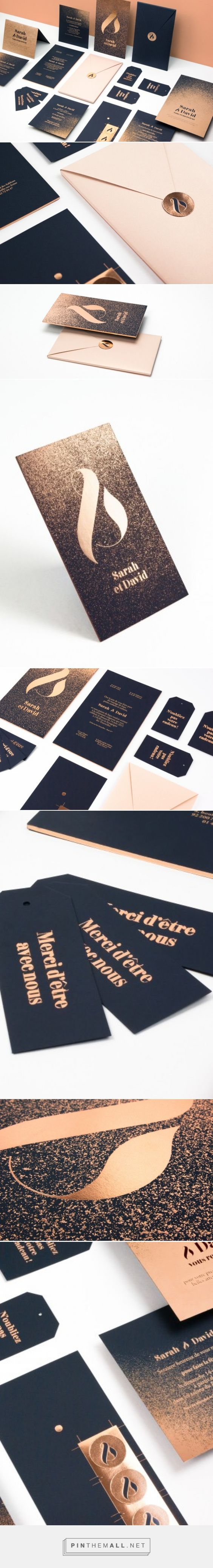 Black and Gold Wedding Invitation Set by