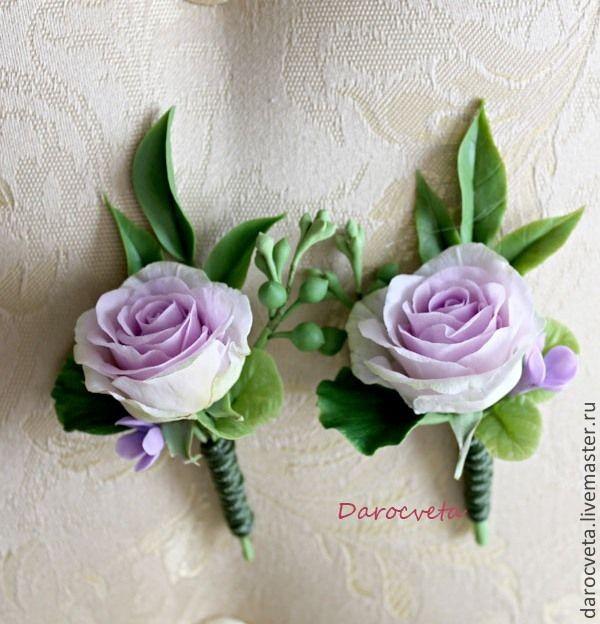 Купить Свадебные бутоньерки с сиреневой розой - свадьба, свадебное украшение, свадебные аксессуары, бутоньерка свадебная