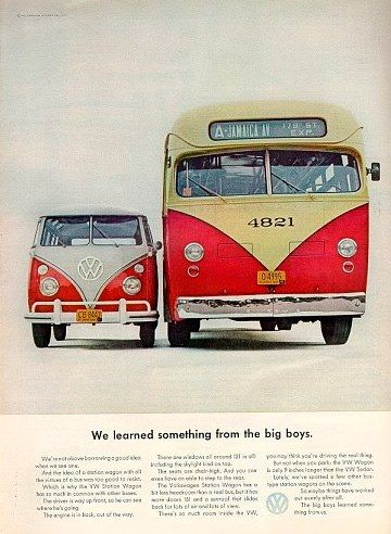 I love vintage VW ads. There's still a lot to be learned from them. Art director: Helmut Krone  #advertising #volkswagon #vintageawesomeness