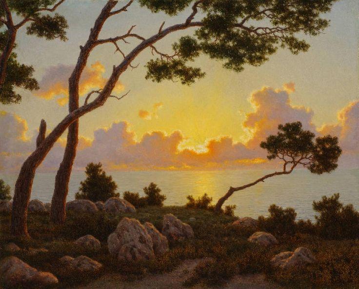 Lever du soleil, Capri, huile sur toile de Ivan Fedorovich Choultse (1875-1932, Russia)