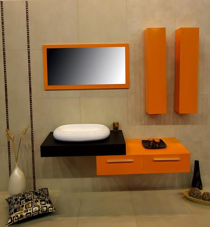 Mod Orange Bathroom Vanity