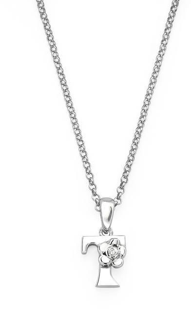 "Little Diva Diamonds Little Diva Silver Initial ""T"" Necklace with Diamond Accents for Children"