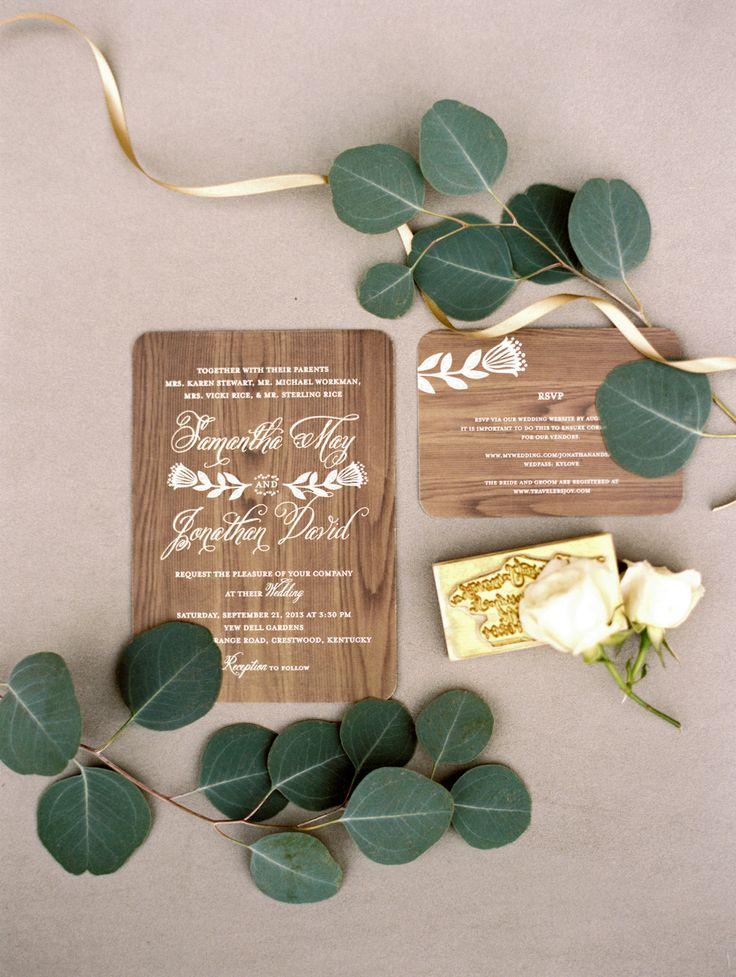 wooden wedding #invitations | Photography: Whitney Neal Photography - www.whitneynealphoto.com  Read More: http://www.stylemepretty.com/2014/04/04/mint-blue-whimsical-garden-wedding/