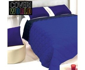 www.sconticasa.it  Trapuntino letto matrimoniale double face in microfibra  Marcato Coveri World  Colore Cobalto/Blu